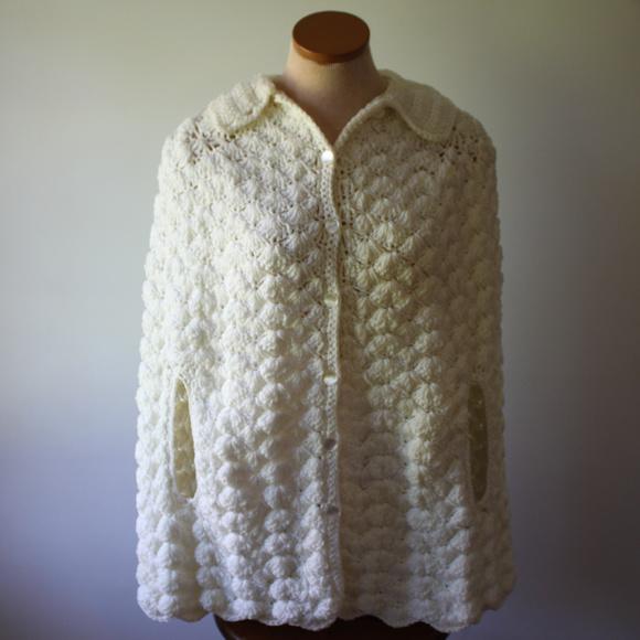 Vintage White Heavy Handmade Crochet Shawl